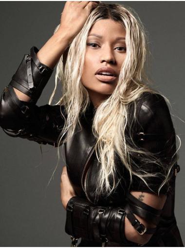 """Platinum Blonde 18"""" Wavy Without Bangs Long Nicki Minaj Wigs"""