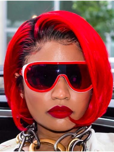 "Red 10"" Straight Bobs Chin Length Nicki Minaj Wigs"
