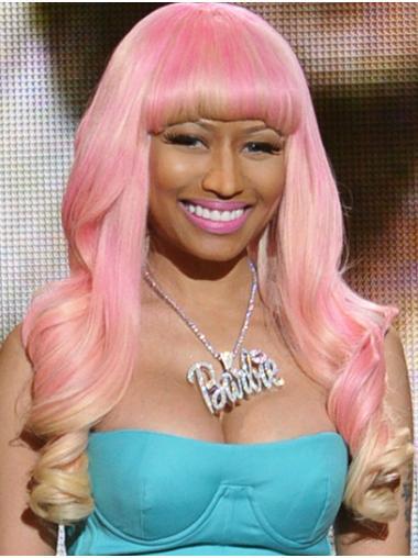 """Pink 22"""" Curly With Bangs Long Nicki Minaj Wigs"""
