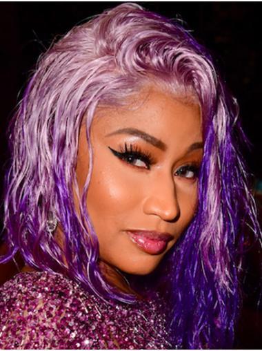 "Purple 12"" Wavy Bobs Chin Length Nicki Minaj Wigs"