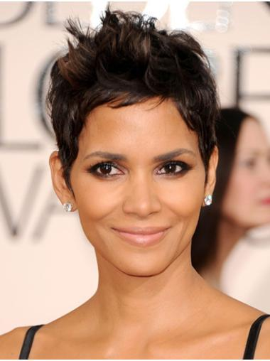Straight Black Lace Front Cropped Boycuts Halle Berry Wigs