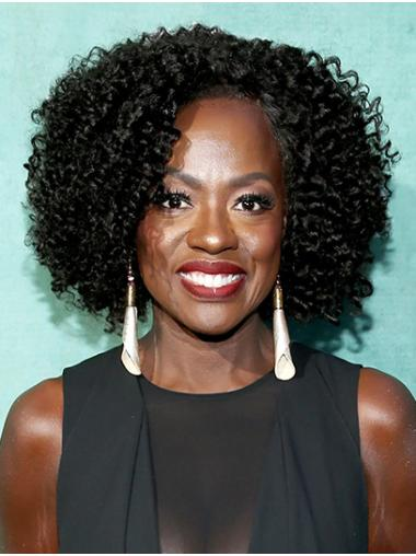 """12"""" Lace Front Chin Length Synthetic Kinky Viola Davis Wigs"""