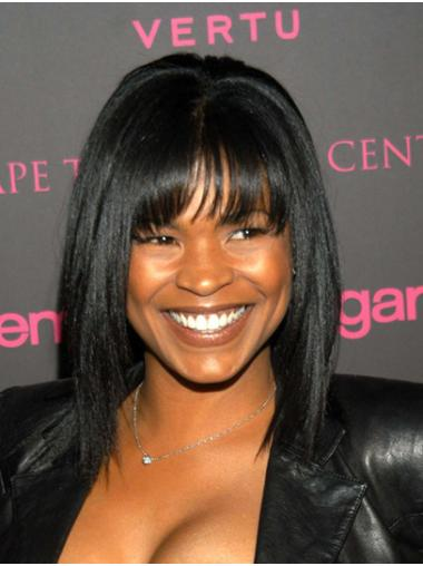 With Bangs Straight Shoulder Length Black Capless Nia Long Wigs