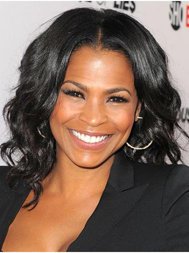 Without Bangs Wavy Shoulder Length Black Lace Front Nia Long Wigs