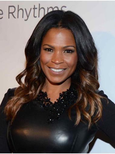 Without Bangs Curly Long Black to Brown Lace Front Nia Long Wigs