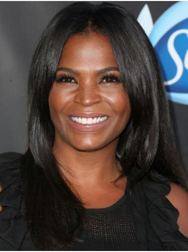 Without Bangs Straight Long Black Lace Front Nia Long Wigs