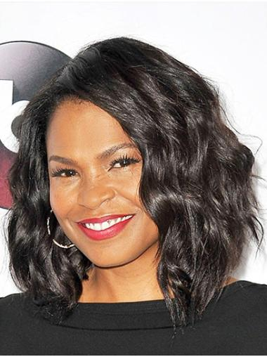 Bobs Wavy Shoulder Length Black Full Lace Nia Long Wigs