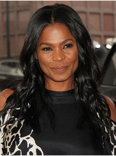 Without Bangs Wavy Long Black Lace Front Nia Long Wigs