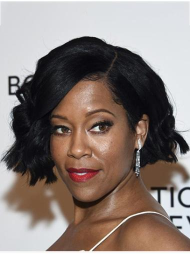 Bobs Wavy Chin Length Black Lace Front Regina King Wigs