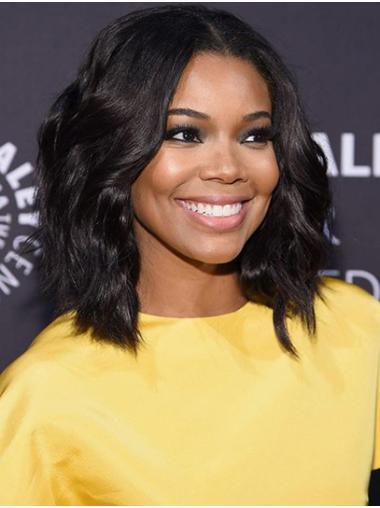 Bobs Wavy Shoulder Length Black Full Lace Gabrielle Union Wigs