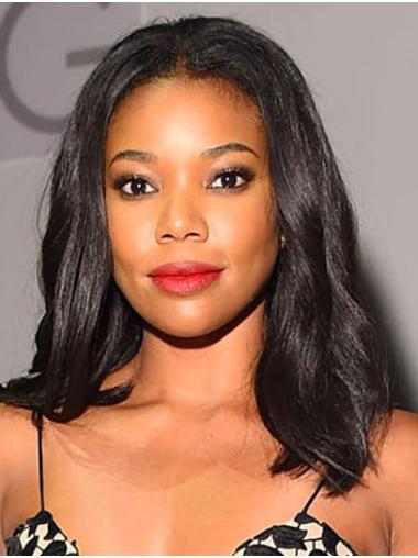 Without Bangs Wavy Shoulder Length Black Lace Front Gabrielle Union Wigs
