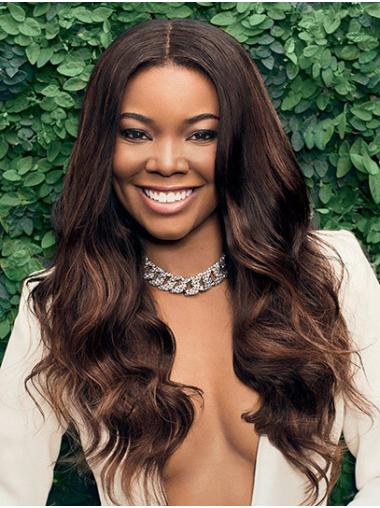 Without Bangs Wavy Long Brown Lace Front Gabrielle Union Wigs