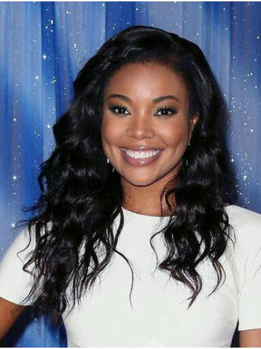 Without Bangs Wavy Long Black Full Lace Gabrielle Union Wigs