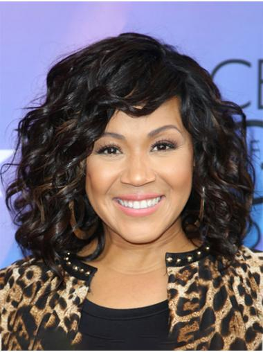 Without Bangs Curly Shoulder Length Black Full Lace Erica Campbell Wigs