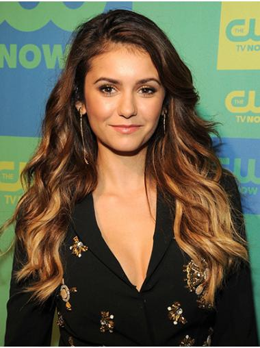 Without Bangs Wavy Long Ombre/2 Tone Lace Front Nina Dobrev Wigs