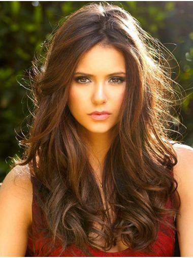 Without Bangs Curly Long Brown Lace Front Nina Dobrev Wigs