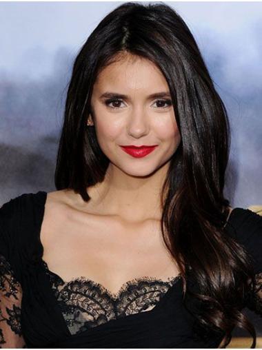 Without Bangs Wavy Long Black Lace Front Nina Dobrev Wigs
