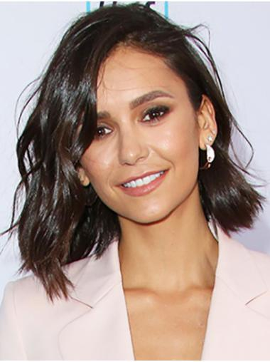 Bobs Wavy Shoulder Length Black Lace Front Nina Dobrev Wigs