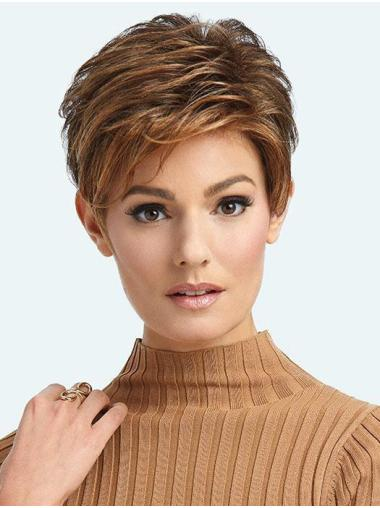 Cropped Exquisite Brown Synthetic Boycuts Lace Front Wigs