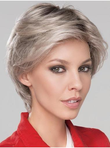 "6"" Short Fashionable Monofilament Wavy Grey Wigs"