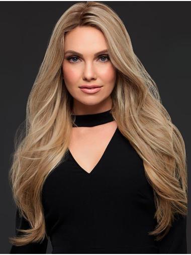 Good Blonde Long Wavy Without Bangs Human Hair Wigs