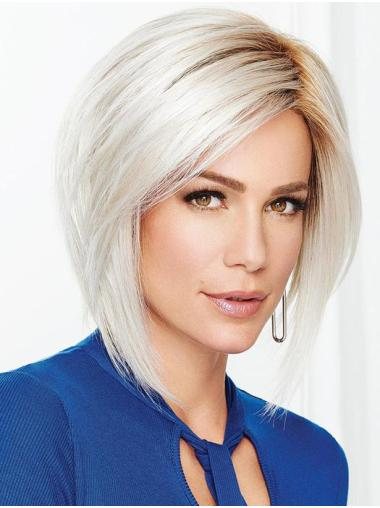 "12"" Chin Length Designed Monofilament Straight Grey Wigs"