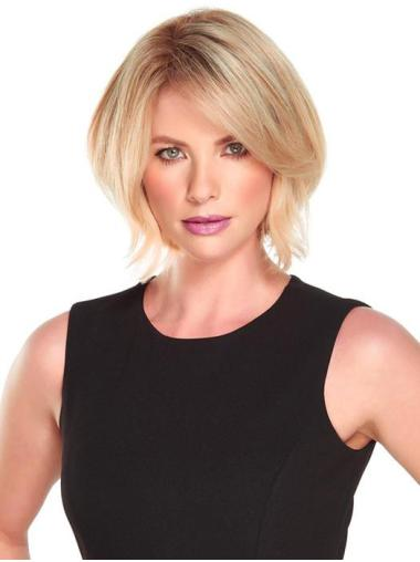 "10"" Chin Length Sleek Blonde Straight Bob Wigs"
