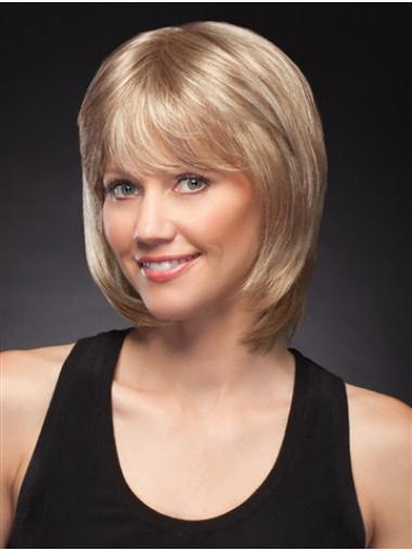 "10"" Chin Length Discount Blonde Straight Bob Wigs"