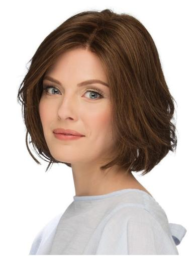 "10"" Chin Length Natural Brown Wavy Bob Wigs"
