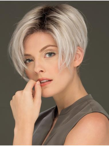 """6"""" Cropped Affordable Lace Front Straight Grey Wigs"""