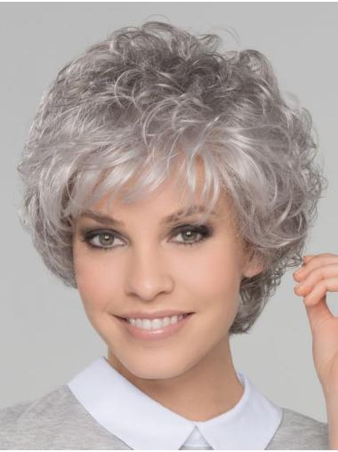 "8"" Short Top Lace Front Curly Grey Wigs"