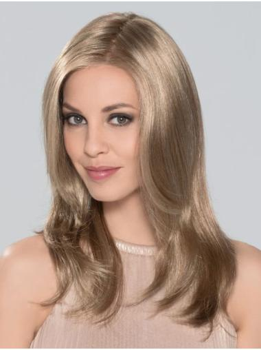 "Without Bangs Monofilament 16"" Straight Blonde Long Wigs"