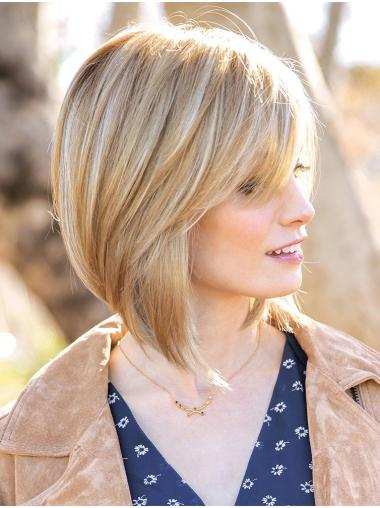 """12"""" Chin Length Blonde Straight Affordable Bob Wigs"""