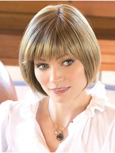 "10"" Chin Length Blonde Straight Designed Bob Wigs"