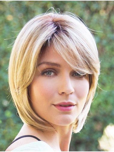 "10"" Chin Length Blonde Straight Fabulous Bob Wigs"