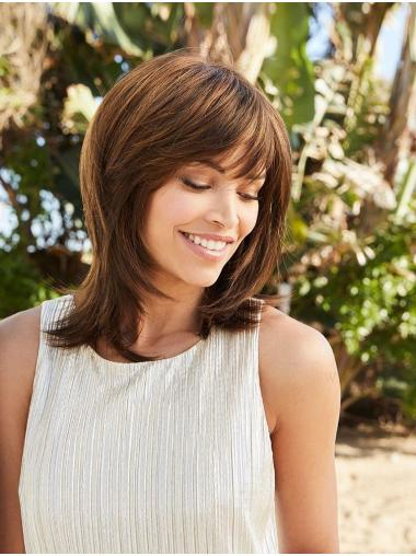 """Brown 14"""" With Bangs Shoulder Length Modern Monofilament Wigs"""