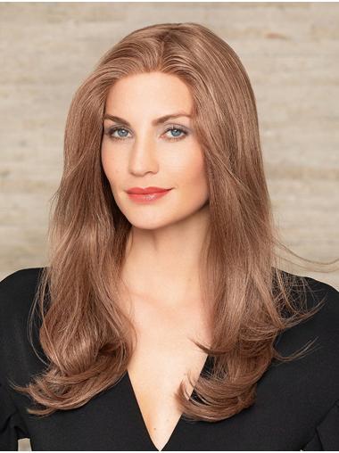 "Auburn Long 18"" Without Bangs Durable Human Hair Wigs"