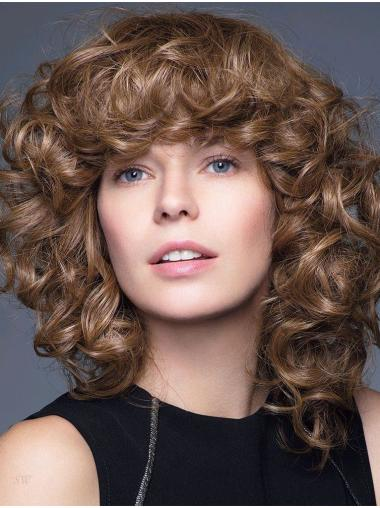 "Curly Brown 14"" Shoulder Length 100% Hand-tied Wigs"