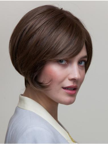 "8"" Short Brown Straight Natural Bob Wigs"