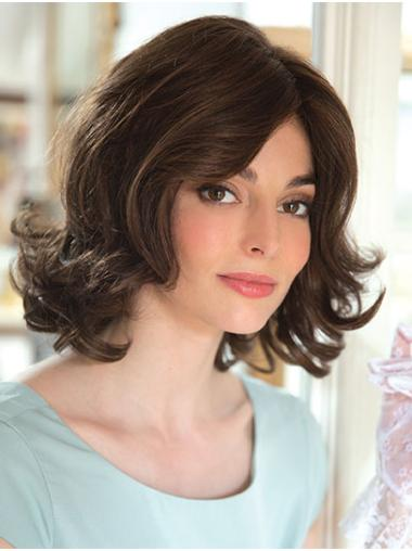 """Brown 12"""" With Bangs Chin Length Affordable Monofilament Wigs"""