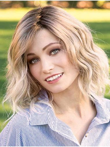 "Blonde 14"" Layered Shoulder Length Online Monofilament Wigs"