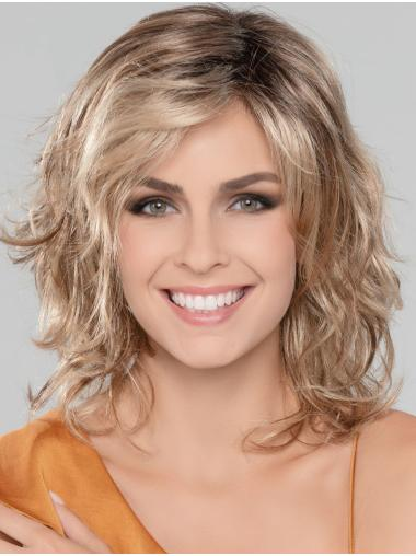 """Blonde 14"""" Without Bangs Shoulder Length Ideal Monofilament Wigs"""