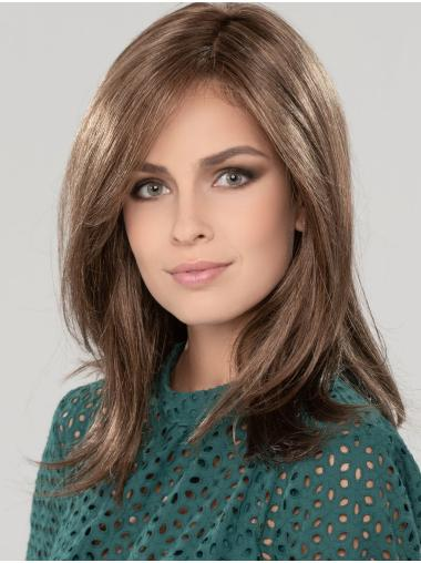 """Straight Shoulder Length 14"""" Brown 100% Hand-tied Wigs"""