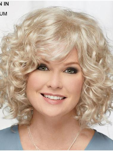 "Curly Platinum Blonde Chin Length 12"" Hairstyles Classic Wigs"