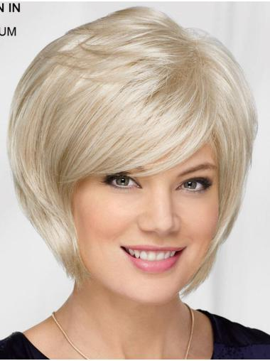 "10"" Chin Length Platinum Blonde Straight Top Bob Wigs"
