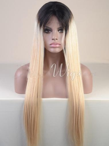 "24"" Long Straight Full Lace Wigs Two Tone African American Wigs"