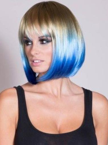 """14"""" Straight Short Lace Front Two Tone Wigs"""