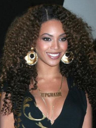 Beyonce Knowles Synthetic Natural and Cool Long Kinky Curly Lace Front Wig 22 Inches