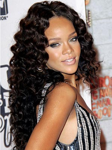 Rihanna Evocative 100% Remy Human Hair Long Layered Curly Glueless Lace Wig 18 Inches