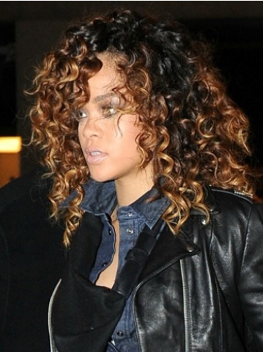 Rihanna Mid-length Layered with Playful Ringlets Curly Lace Wig 14 Inches